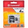 Карта памяти MicroSDHC  4Гб Transcend TS4GUSDHC4 + адаптер