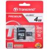 Карта памяти MicroSDHC  4Гб Transcend  TS4GUSDHC10 + адаптер, Premium 133x