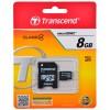 Карта памяти MicroSDHC  8Гб Transcend TS8GUSDHC4 + адаптер