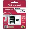 Карта памяти MicroSDHC  8Гб Transcend TS8GUSDHC10 + адаптер, Premium 133x