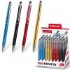 Ручка-стилус SONNEN для смартфонов/планшетов, СИНЯЯ, корпус ассорти, серебристые детали, линия письма 1 мм, 141587