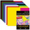 Набор цветного картона и бумаги А4 мелованные (глянцевые), 8+8 цветов, в папке, BRAUBERG, 200х290 мм, 124805